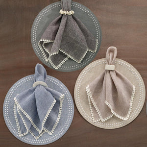 Bodrum Bodrum Pearls Placemat - Beige & White - Set of 4 LPR1301P4
