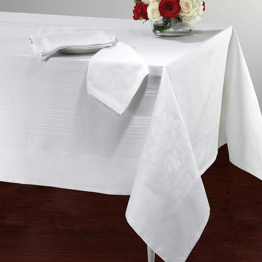 "Bodrum Bodrum Villa Tablecloth - White - 63"" x 144"" VIL0111"