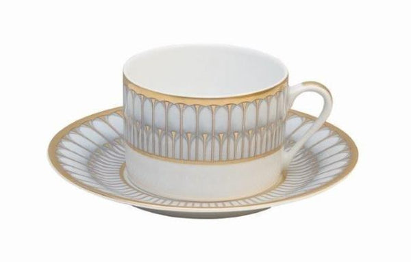 Deshoulieres Grey and Matte Gold Arcades Tea Saucer 030541