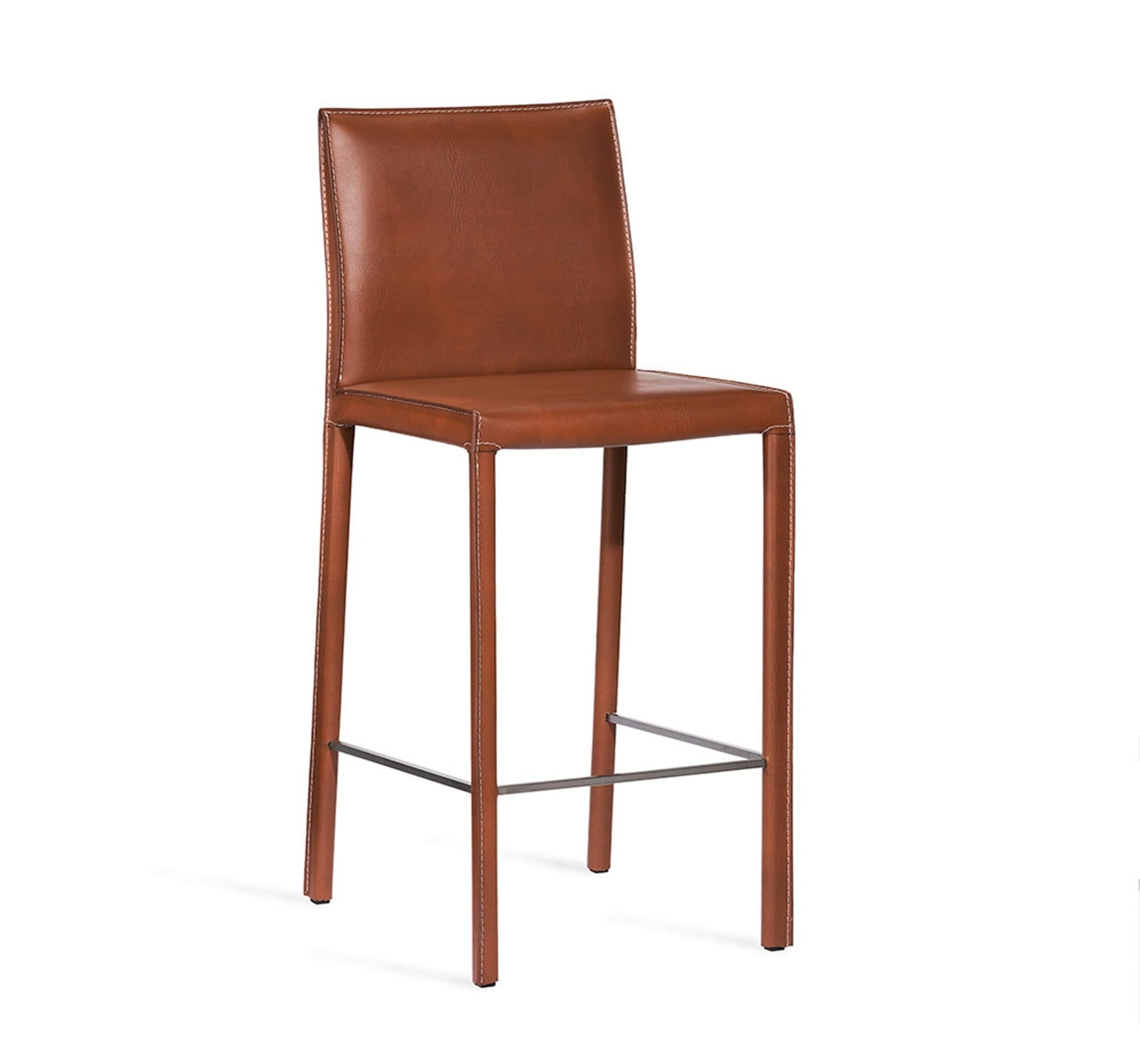 Interlude Home Interlude Home Vera Counter Stool Set of 2 - Brushed Steel & Cognac 149026S2