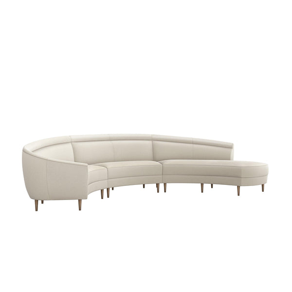 Interlude Home Interlude Home Capri Right Chaise 3 Piece Sectional - Pearl 199012-1