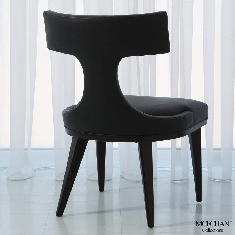 Global Views Anvil Back Black Leather Dining Chair