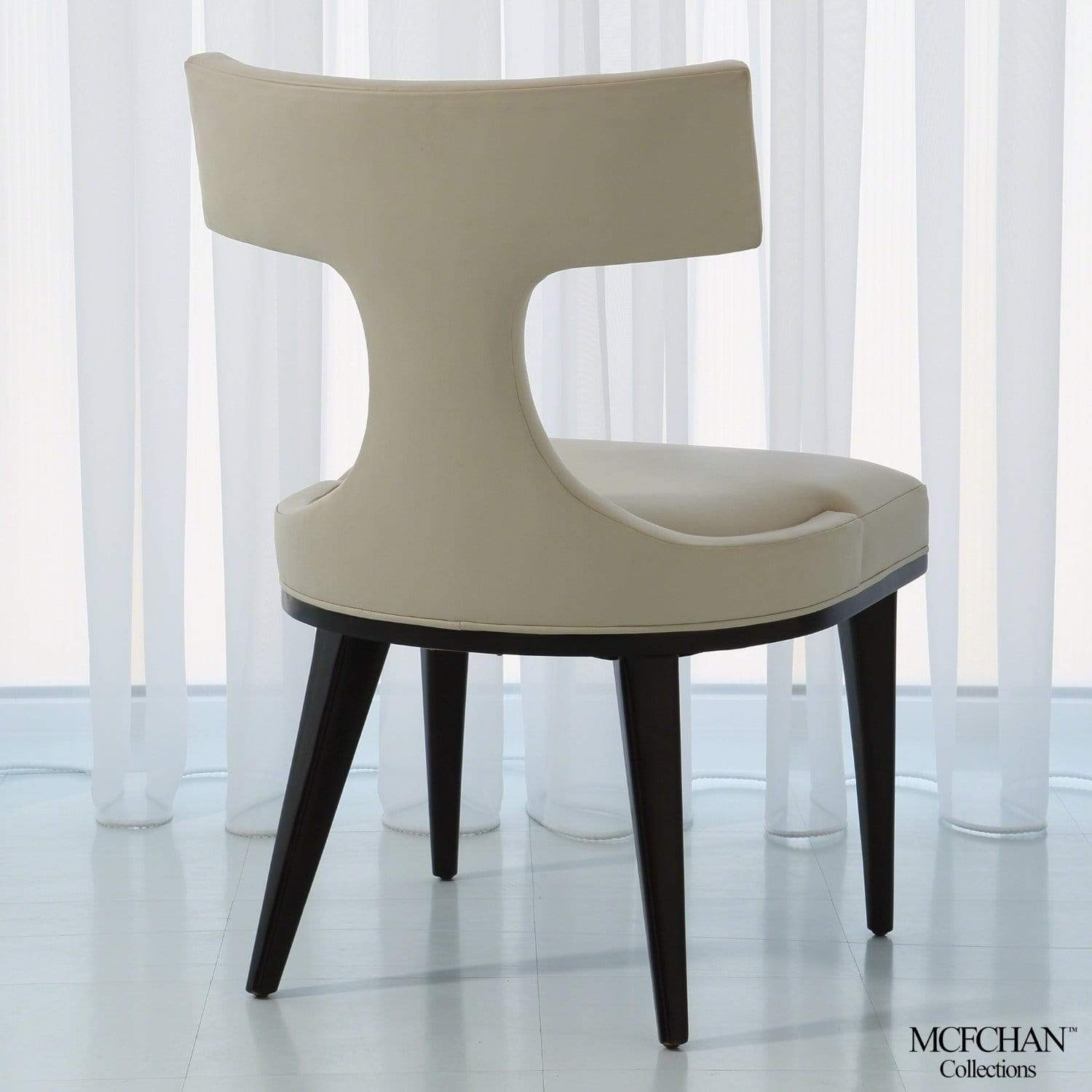 Global Views Global Views Anvil Back Ivory Leather Dining Chair MC-2511