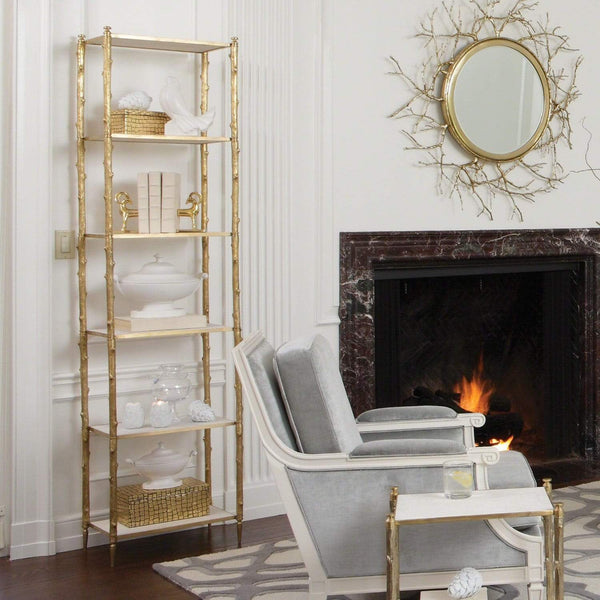 Global Views Arbor Etagere Brass/White Marble Top 8.82035