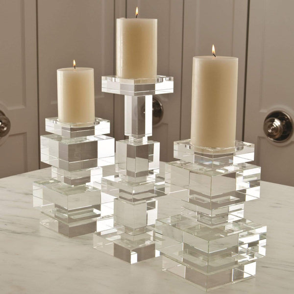 Global Views Brilliant Pillar Candle Holder Short 8.81267