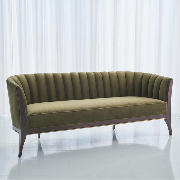 Global Views Channel Back Sofa Moss Velvet 2578