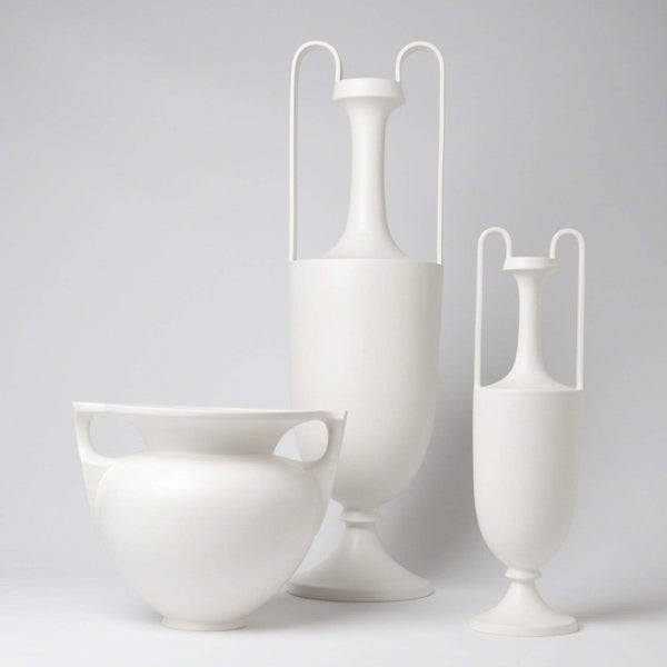 Global Views Elongated Grecian Amphora-Matte White