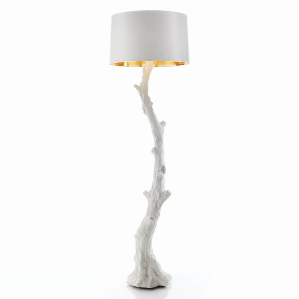 Global Views Faux Bois Floor Lamp White AC5143
