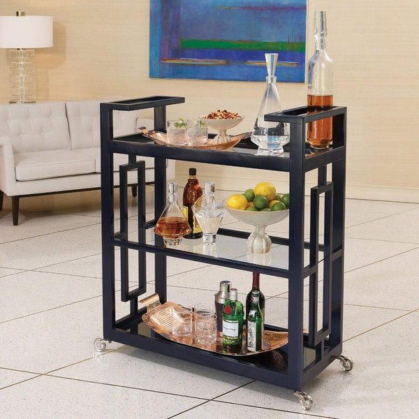 Global Views Grid Block Bar Cart Ink 2492