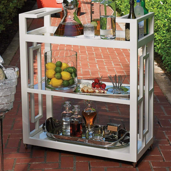 Global Views Grid Block Bar Cart White 2478