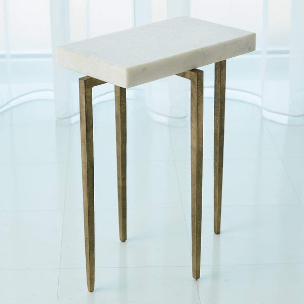 Global Views Global Views Laforge Accent Table Antique Gold with White Honed Marble Top 7.90859