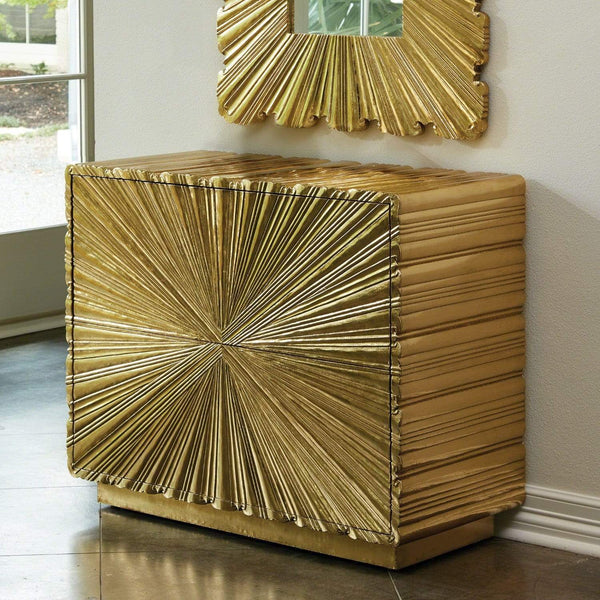 Global Views Global Views Linenfold Two Drawer Chest Brass 9.92663