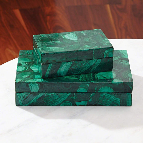Global Views Global Views Malachite Stone Box