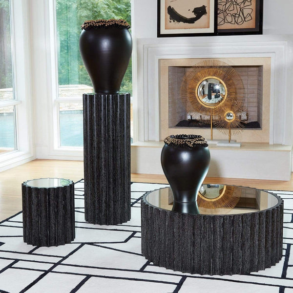 Global Views Reflective Column Pedestal Black Cerused Oak 2564