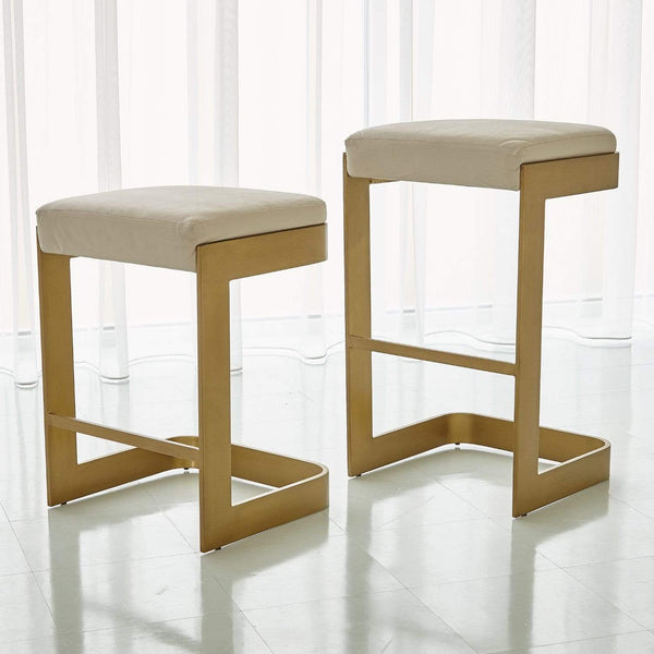 Global Views Regan Low Bar Stool w/Ivory Leather Antique Brass 7.90828