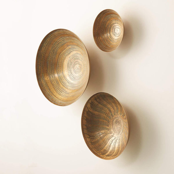 Global Views Set of 3 Sun Etched Wall Bowls Antique Brass 7.91058