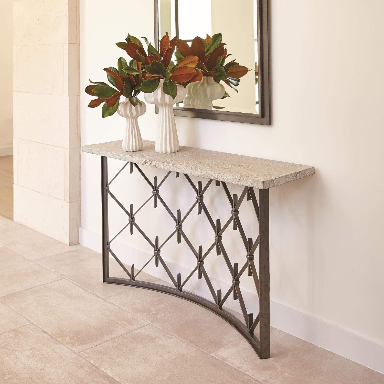 Studio A Sidney Console Table Natural Wrought Iron With Wood Plank Top Alchemy Fine Home