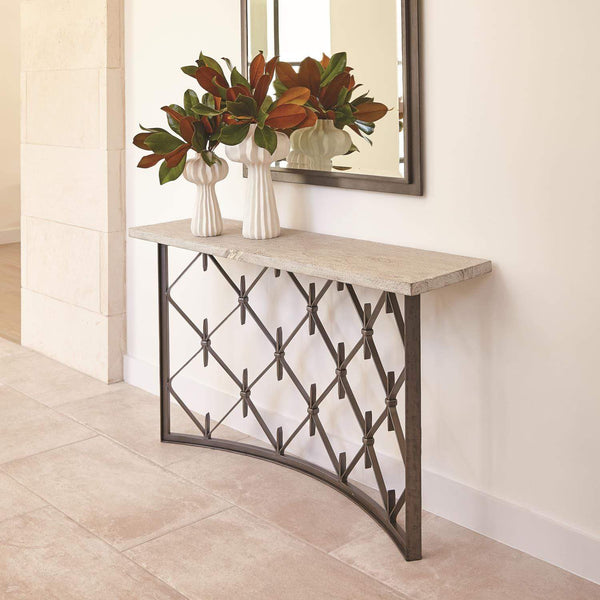 Global Views Global Views Sidney Console Table - Natural Wrought Iron with Wood Plank Top 7.91023