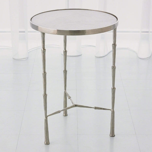 Global Views Spike Accent Table Antique Nickel w/White Marble 7.90509
