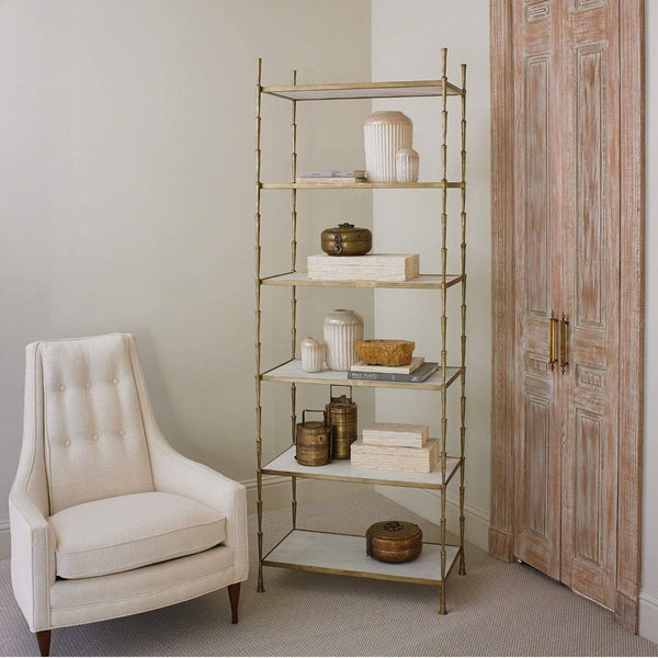 Global Views Spike Etagere Antique Brass/White Marble 7.90457