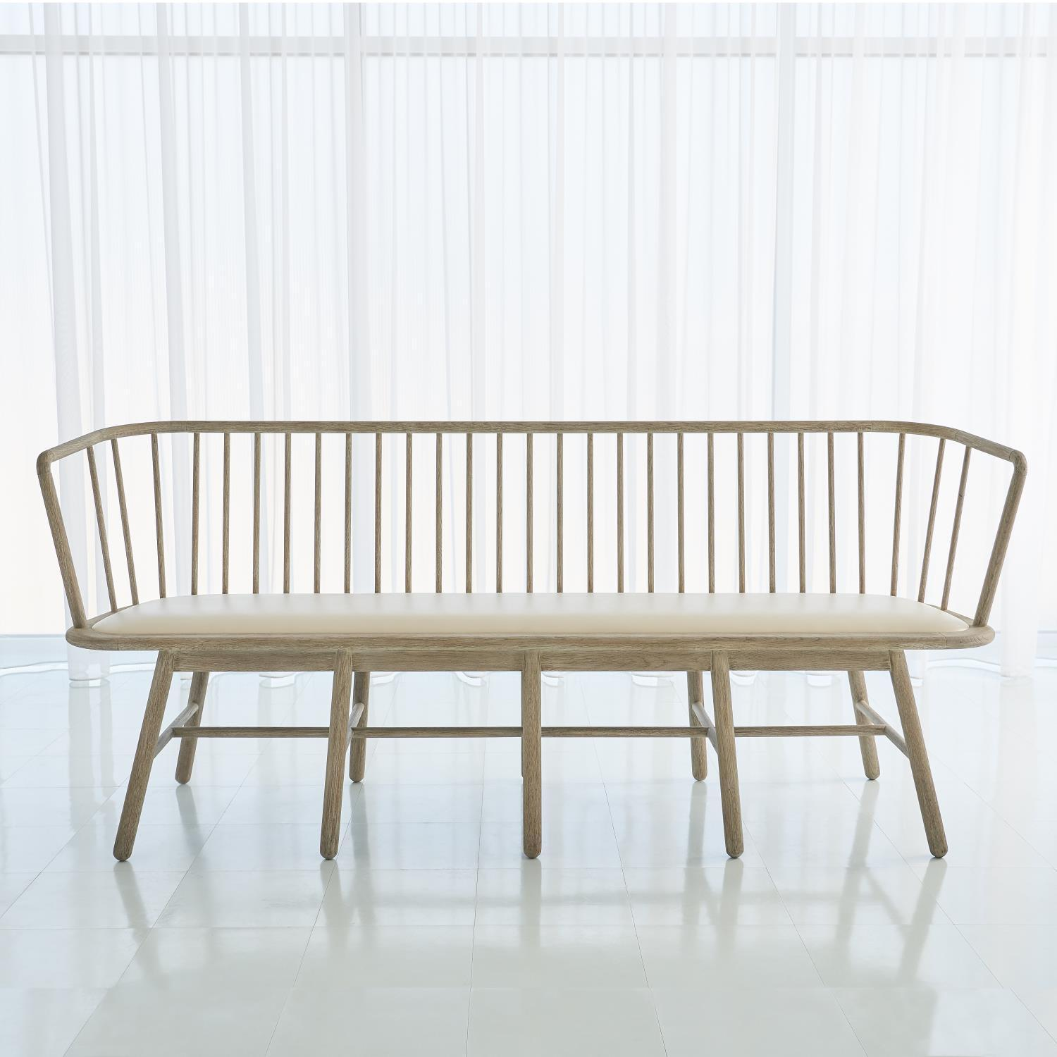 Global Views Global Views Spindle Long Bench Beige Leather 7.20199