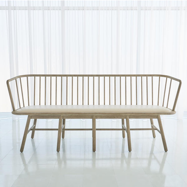 Global Views Spindle Long Bench Beige Leather 7.20199