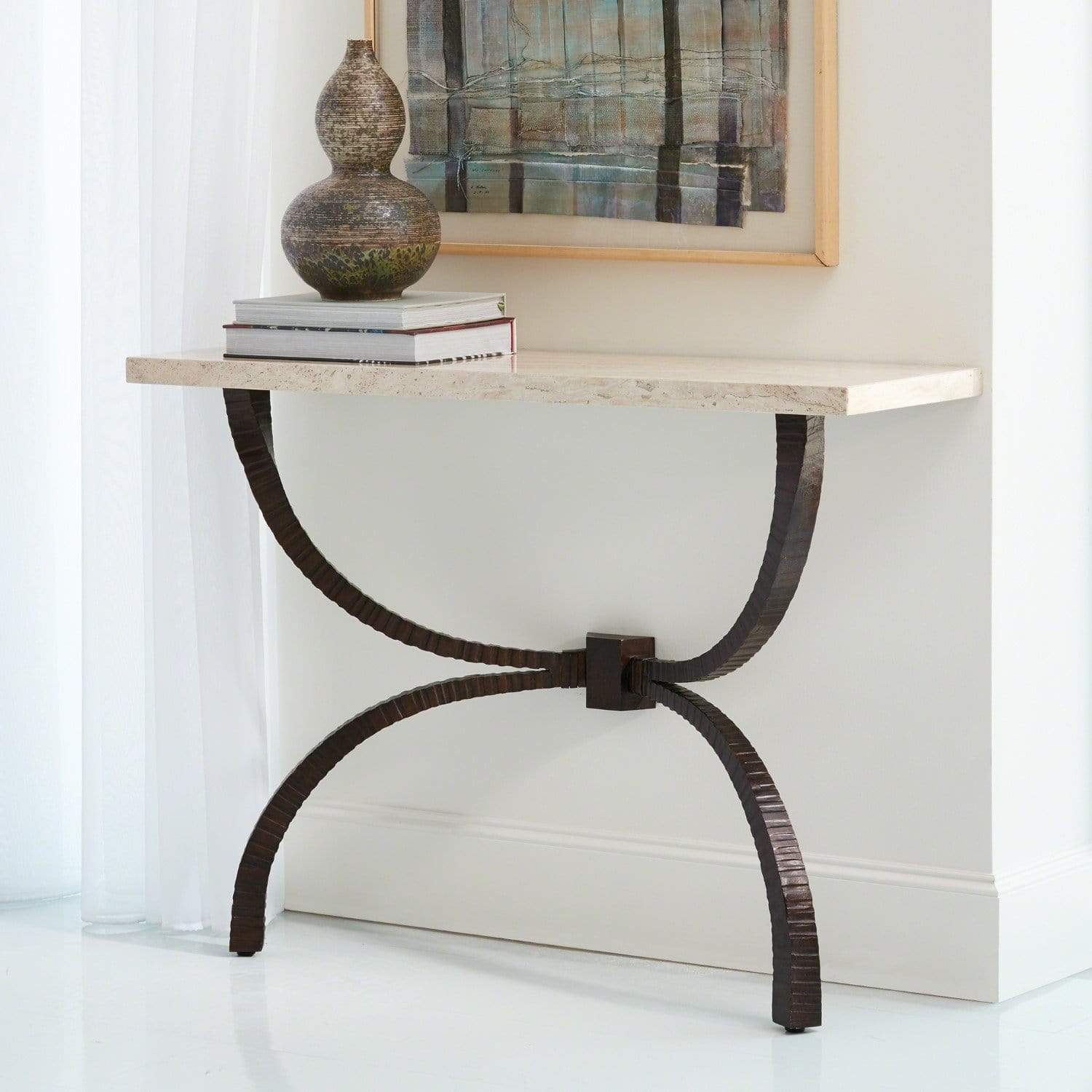 Global Views Global Views Teton Console Bronze with Travertine Top 7.90651