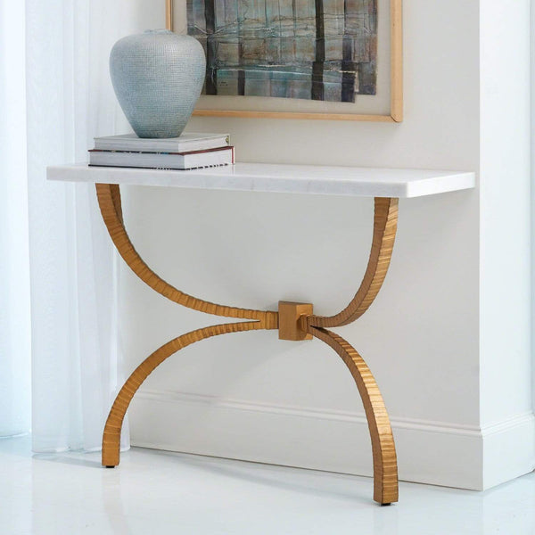Global Views Global Views Teton Console Gold with White Marble Top 7.90652