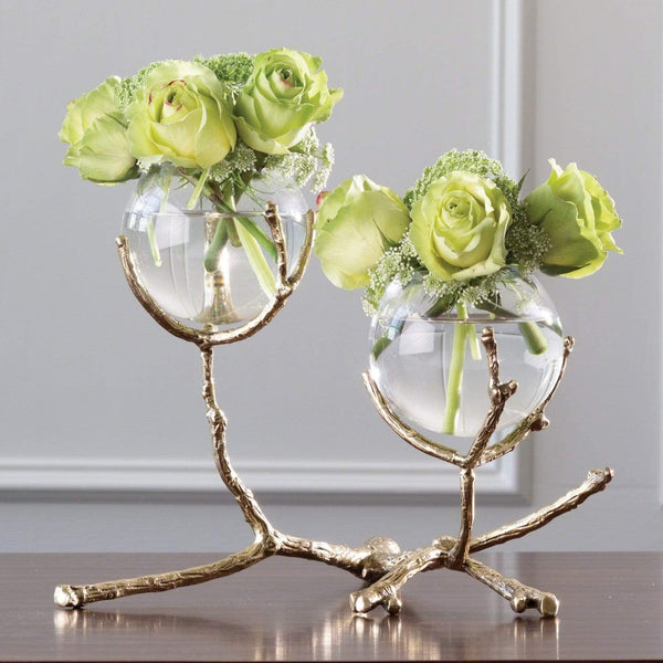 Global Views Twig 2 Vase Holder Brass 9.92655