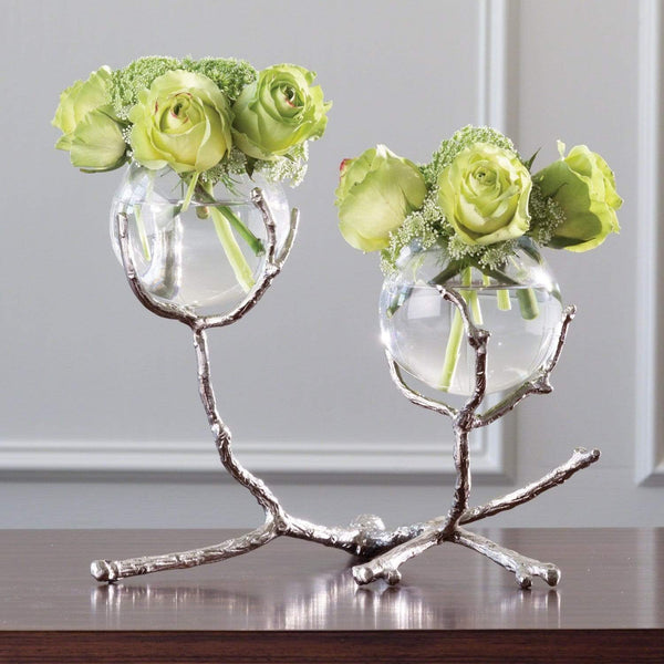 Global Views Twig 2 Vase Holder Nickel 9.92658
