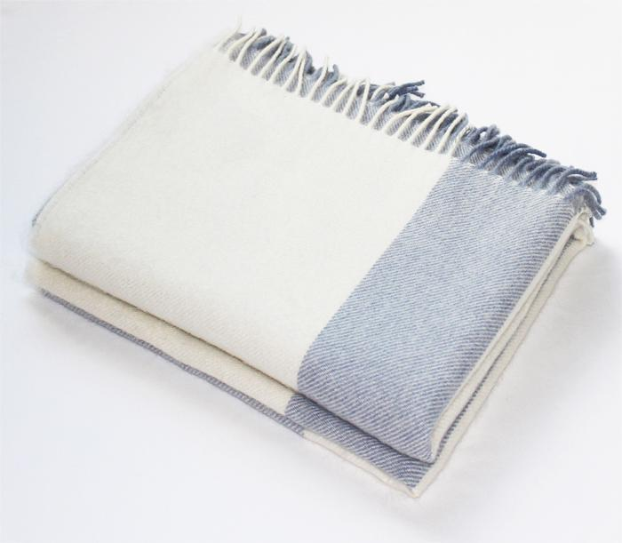 Harlow Henry Harlow Henry Alpaca Light Blue Stripe Throw HHSCT07