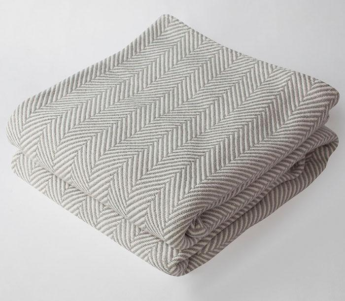 Harlow Henry Harlow Henry Herringbone Gray Blanket - 3 Available Sizes