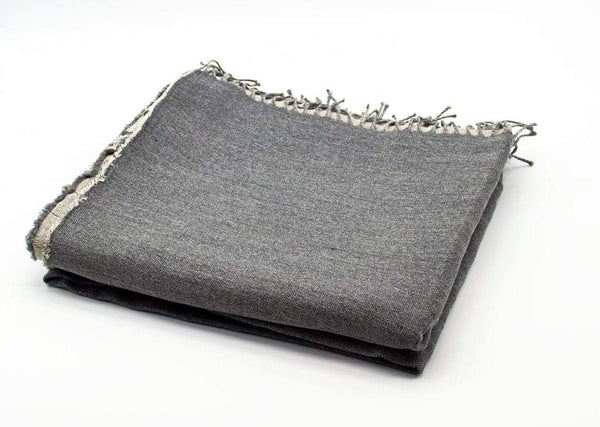 Harlow Henry Harlow Henry Linen Merino Wool Gray with Linen Reverse Throw HHLMT01