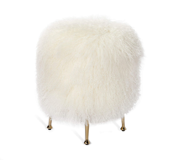 Interlude Home Interlude Home Antonia Stool in Ivory Sheepskin 175142