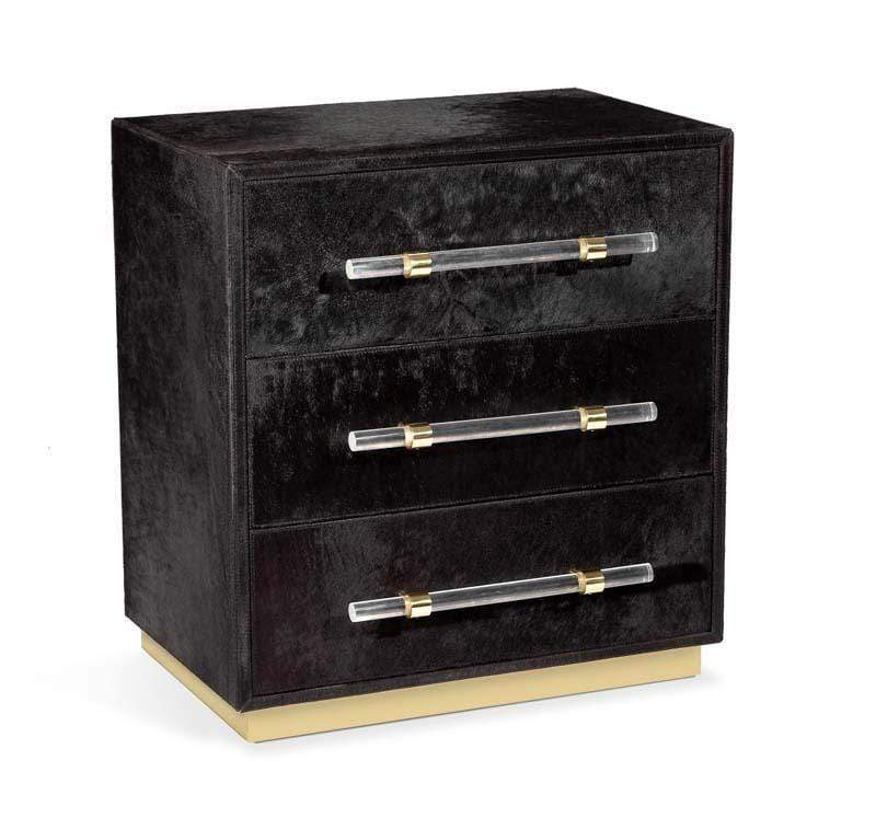 Image of Cassian 3 Drawer Chest - Black, Brass