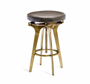 Interlude Home Interlude Home Colton Brown Leather Adjustable Stool - 2 Available Colors