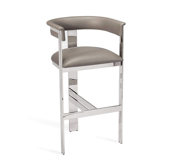 Interlude Home Darcy Bar Stool in Grey/ Nickel 148106