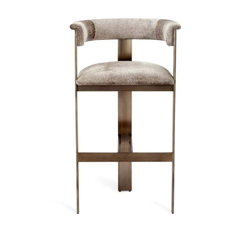 Interlude Home Darcy Hide Bar Stool - Bronze 149129