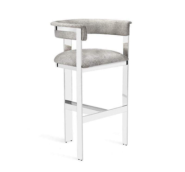 Interlude Home Darcy Hide Bar Stool - Nickel 149130