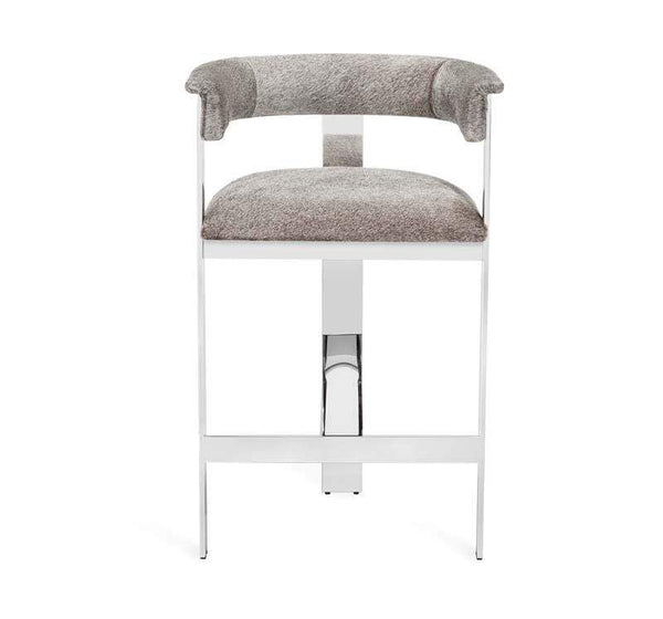 Interlude Home Darcy Hide Counter Stool - Nickel 149128