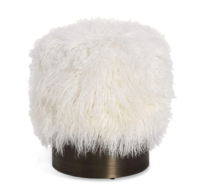 Interlude Home Interlude Home Doutzen Stool in Ivory Sheepskin 175169