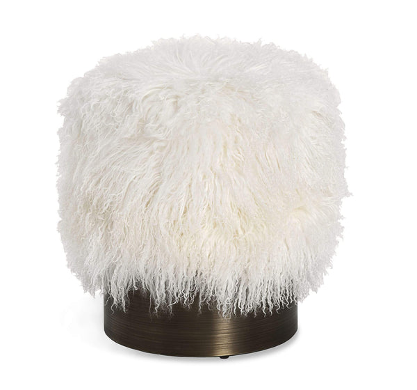 Interlude Home Doutzen Stool in Ivory Sheepskin 175169