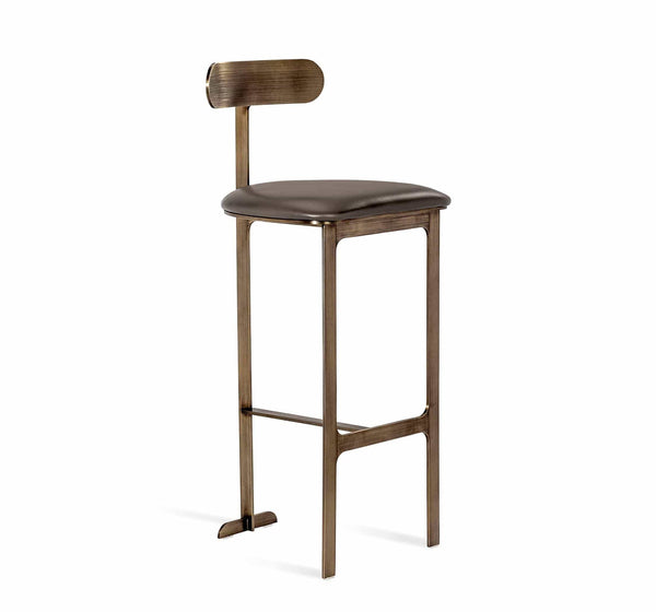 Interlude Home Hollis Bar Stool in Grey/ Bronze 148148