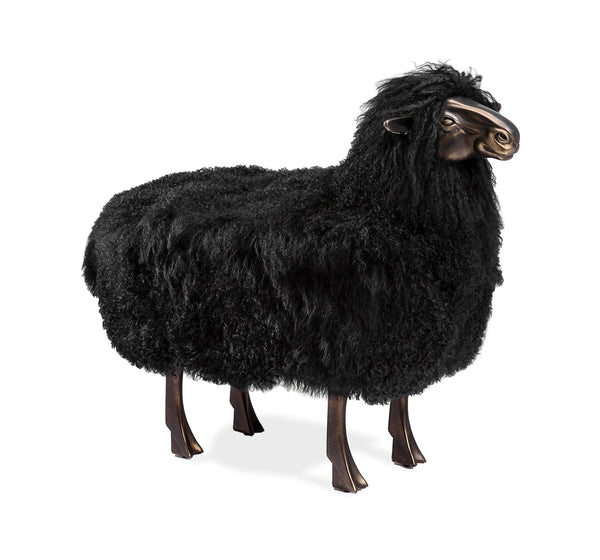 Interlude Home Leon Sheep Sculpture in Black 175168