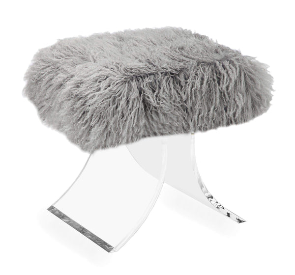 Interlude Home Serena Stool in Grey Sheepskin 178070