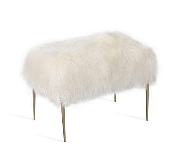 Interlude Home Stiletto Stool in Ivory Sheepskin 175148