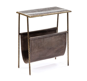 Interlude Home Strauss Magazine Table in Grey/ Brass 168047