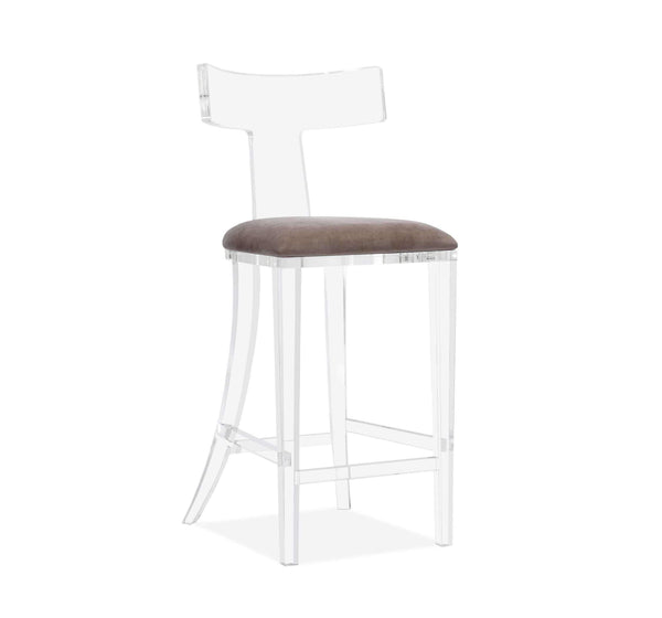 Interlude Home Tristan Klismos Bar Stool in Grey Velvet 145104