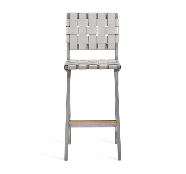 Interlude Home Louis Bar Stool in Grey Wash Antique Brass Finish - Light Grey Upholstery