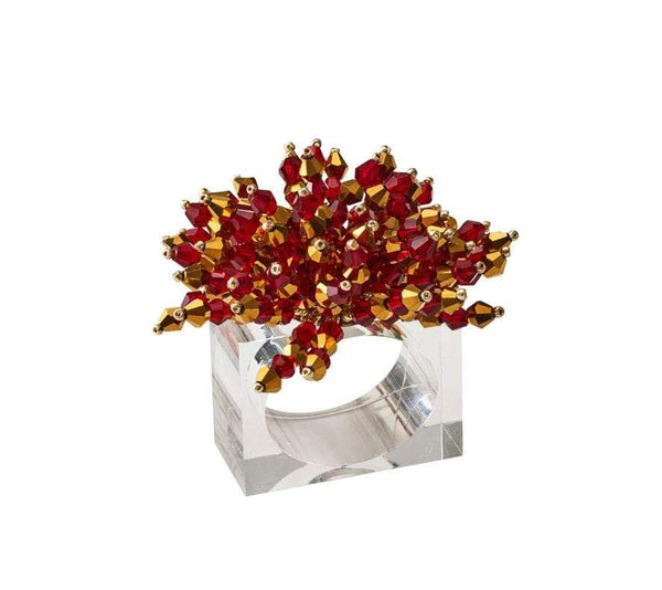 Kim Seybert Brilliant Napkin Ring in Red - Set of 4 NR2180943RED